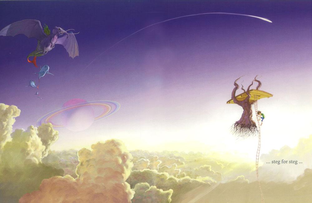 Illustrasjon fra boka Gutten med fallskjermen av Danny Parker og Matt Ottley (ill.)