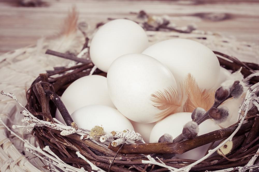 Egg i reir blir naturlig påskepynt
